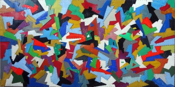 〈海的記憶:岩壁〉• 拉黑子‧達立夫 • 2016 • 90.5 x 180.5 x 4 cm • 回收塑膠片、無甲醛合板